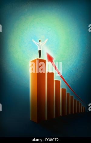 Anschaulichen Bild der Geschäftsmann stehend auf Balkendiagramm, Sieg darstellt - Stockfoto