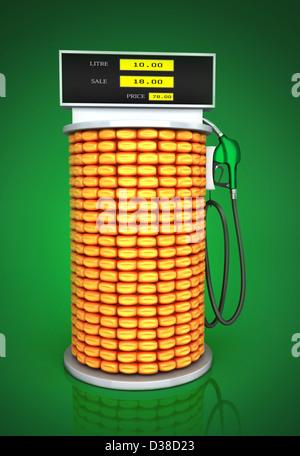 Anschauliches Bild von Mais Kraftstoffpumpe stellvertretend gehen grüne Konzept - Stockfoto