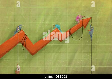 Anschauliches Bild von Geschäftsleuten auf Pfeil unterstützen Mitarbeiter repräsentieren Unternehmenswachstum - Stockfoto