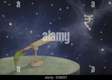 Anschauliche Bild der Geschäftsmann durch Teleskop in indischer Währungssymbol für Prognose und Ziel suchen - Stockfoto