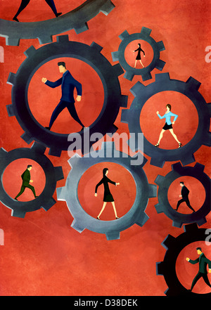 Anschauliches Bild von Geschäftsleuten, die zu Fuß in Gängen repräsentieren Unternehmen Mechanismus und Teamarbeit - Stockfoto