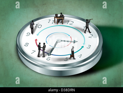 Anschauliches Bild von Geschäftsleuten auf Uhr repräsentieren rund um die Uhr arbeiten - Stockfoto