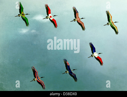 Anschauliches Bild der Vögel im Himmel, globales Geschäft darstellt - Stockfoto