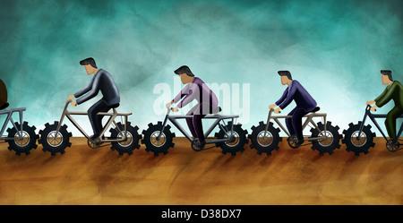 Anschauliches Bild von Geschäftsleuten Reiten Zyklen für Teamarbeit - Stockfoto
