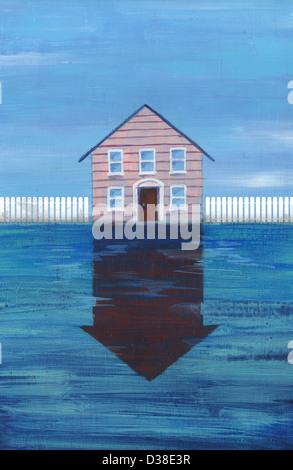 Anschauliches Bild des Hauses mit Reflexion Vertretung Preis fallen in den Immobilien - Stockfoto