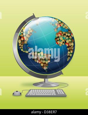 Anschauliches Bild der Welt verbunden mit Tastatur und Maus für soziale Netzwerke - Stockfoto