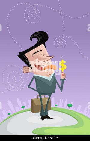 Anschauliches Bild der glücklich Geschäftsmann lecken Süßigkeiten mit Dollarzeichen, Gewinn darstellt - Stockfoto
