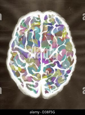 Anschauliches Bild des menschlichen Gehirns mit Kapseln gefüllt - Stockfoto