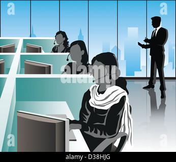 Weibliche Mitarbeiter in einem Büro, Indien - Stockfoto