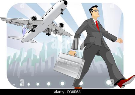 Geschäftsmann hält eine Aktentasche und walking - Stockfoto