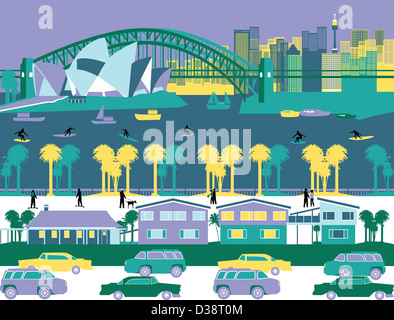 Opernhaus und eine Brücke in einer Stadt, Sydney Opera House, Sydney Harbour Bridge, Sydney, New South Wales, Australien - Stockfoto