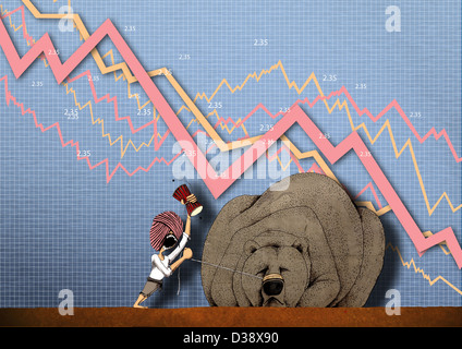 Anschauliche Darstellung zeigt Börsencrash - Stockfoto