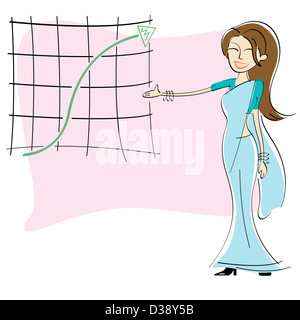 Geschäftsfrau zeigt Diagramm des Wachstums - Stockfoto
