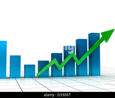 Darstellung, die steigende Balkendiagramm - Stockfoto