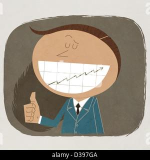 Anschaulichen Bild von fröhlich Geschäftsmann, Daumen nach oben Schild mit Grafik auf Zähne zeigen - Stockfoto