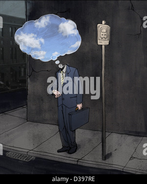 Deprimiert Geschäftsmann am Busbahnhof mit Gedankenblase - Stockfoto