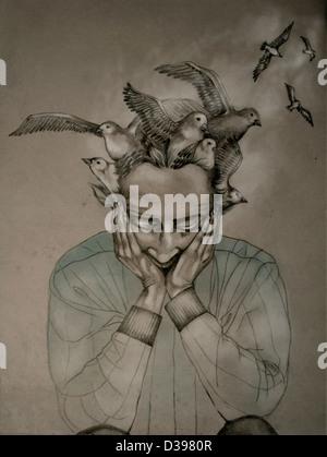 Vögel fliegen vom Kopf eines Mannes mit der Alzheimer-Krankheit - Stockfoto