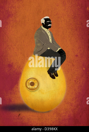 Illustrative Konzept der älterer Mann sitzt auf Ei für Rentenfonds - Stockfoto