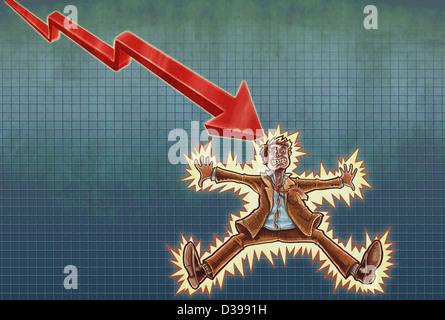 Anschauliches Bild der Geschäftsmann Stromschlag bekommen - Stockfoto