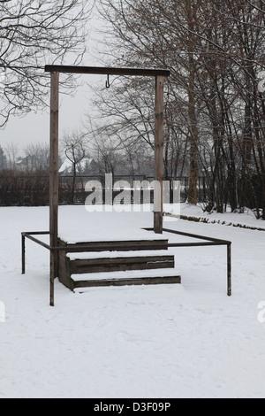 Gerüst auf dem Lager Kommandant Rudolf Hoess wurde durchgeführt am 16. April 1947 in Auschwitz ich KZ. - Stockfoto