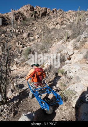 Menschen wandern in die Chiricahuas im winter - Stockfoto