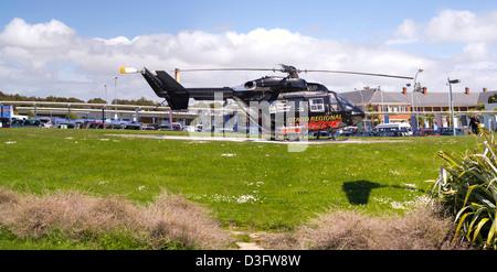 Panoramablick über eine Hubschrauber-Ambulanz auf dem Pad in Southland Krankenhaus, Invercargill New Zealand - Stockfoto