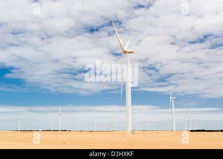 Windkraftanlagen in einen Windpark im ländlichen Australien - Stockfoto