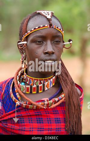 Massai-Krieger, Selenkay Conservancy, Kenia - Stockfoto