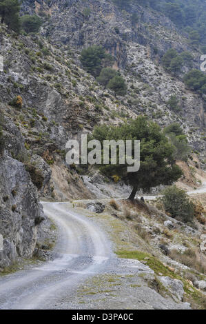 Eine staubige Strecke schlängelt es ist die Art und Weise durch das Lecrin Tal in Andalusien Südspanien - Stockfoto