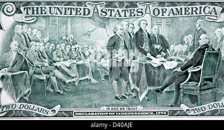 Schauplatz der Unterzeichnung der Unabhängigkeitserklärung von 2 Dollar Banknote, USA, 2003 - Stockfoto