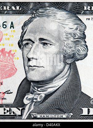 Porträt von Alexander Hamilton von 10 Dollar Banknote, USA, 2009 - Stockfoto