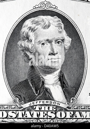 Porträt von Thomas Jefferson aus 2 Dollar Banknote, USA, 2003 - Stockfoto