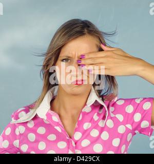 Porträt einer jungen Frau 50' Stil - Stockfoto