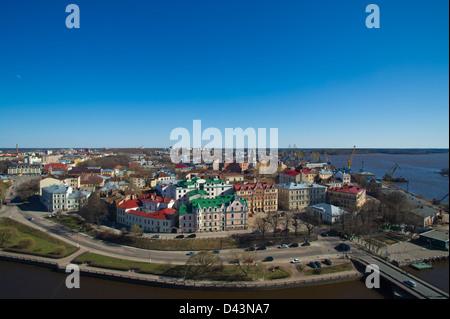 Feine Stadtbild von Vyborg von einem Turm. Russland - Stockfoto