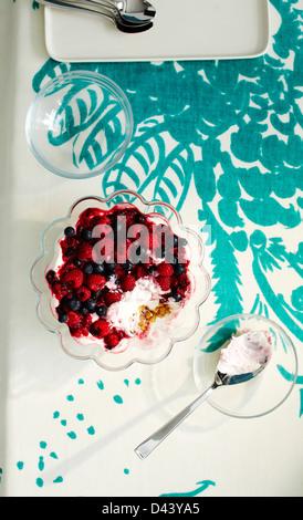 Draufsicht der Berry-Dessert im Glasschüssel mit Löffel am Tisch mit Tischdecke im Studio
