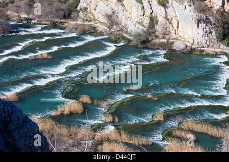 Kaskaden auf Roski slap Krka Nationalpark Kroatien - Stockfoto