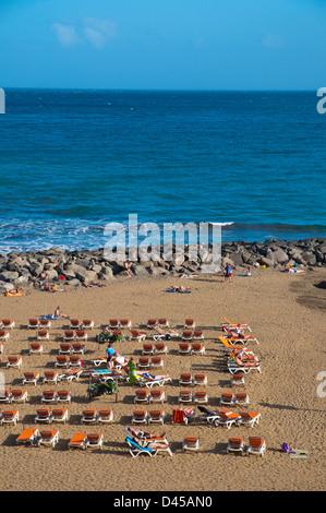 Strand direkt vor der Uferpromenade Paseo Costa Canaria Playa del Ingles Resort Gran Canaria Insel der Kanarischen - Stockfoto