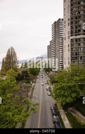 Beach Street, wie gesehen von der Burrard Bridge, Downtown Vancouver, British Columbia, Kanada - Stockfoto