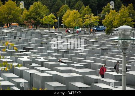 Berliner Holocaust-Mahnmal von Steinplatten Juden ermordet im 2. Weltkrieg in Europa - Stockfoto