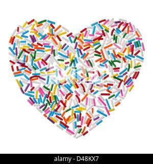 Bunten Süßigkeiten besprengt Herz isoliert auf weißem Hintergrund - Stockfoto