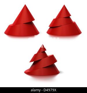 Zwei, drei und vier Ebenen konische Formen, sind die Zapfen rot mit einem Schatten auf dem Boden, weißer Hintergrund - Stockfoto