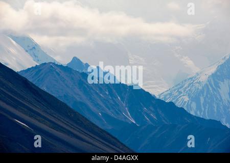Blick auf die Alaska Range vom Highway Pass, Denali National Park, Alaska, USA - Stockfoto