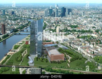 Das undatierte Handout veröffentlicht von der Stadt Frankfurt Main Pressestelle zeigt eine computergenerierte Luftaufnahme - Stockfoto