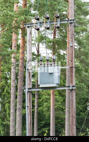 Umspannwerk für die Stromverteilung im Wald, Schweden. - Stockfoto