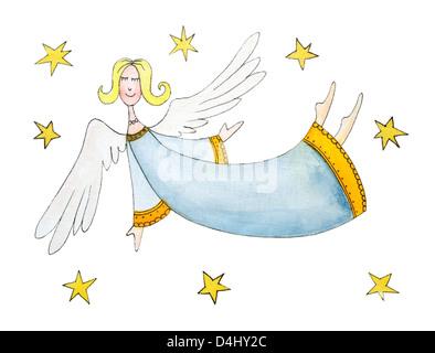 Engel mit Sternen, Kinder Zeichnung, Aquarell, cartoon - Stockfoto