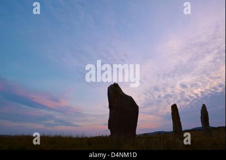 Machrie Moor Steinkreis bei Sonnenuntergang, Machrie, Isle of Arran, North Ayrshire, Schottland, Vereinigtes Königreich. - Stockfoto