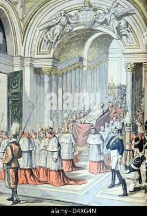 Tod und Begräbnis von Papst Leo XIII Prozession in der Sixtinischen Kapelle Apostolischen Palast Vatikanstadt Rom - Stockfoto
