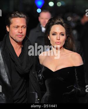 """UNS Schauspieler Brad Pitt und Angelina Jolie die deutsche-Premiere des neuen Films """"The Tourist"""" im Cinestar Kino - Stockfoto"""