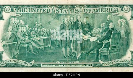 Erklärung der Unabhängigkeit-Szene wie auf der Rückseite der beiden Dollarnote abgebildet - Stockfoto
