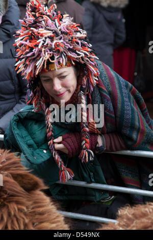 Ramsbottom, Lancashire, UK Sonntag, 24. März 2013. Besucher in Wollmütze bewundern Alpaka auf der 5. jährlichen - Stockfoto